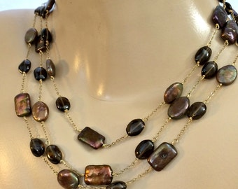 CYBER SALE Bronze Fresh Water Pearls, Whiskey Quartz , Gold Vermeil, Triple Strand Necklace, Multistrand, NOW 100.00  Was 125.00