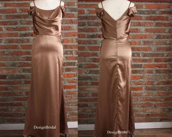 Satin Dress, Slip Formal Dress, Silky Satin Gowns Coffee,Party Dress for Summer, Maxi Evening Dress for Women,Ruched Long Dress Off Shoulder
