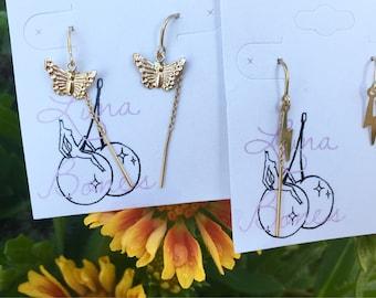 Butterfly threaders, lightning bolt threaders, threader earrings, 14K gold fill earrings