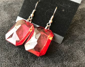 Red Transparent Rectangular Dangle Earrings