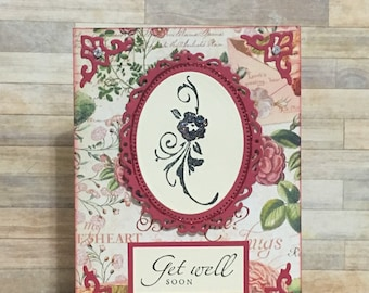 Handmade card, greeting card, get well card, occasion card, floral design, red