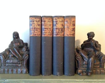 1900, World's Greatest Orations, Antique Book Set, 4 Volumes, Farmhouse Book Decor, Shabby Chic, Library, World History Books, Famous Men