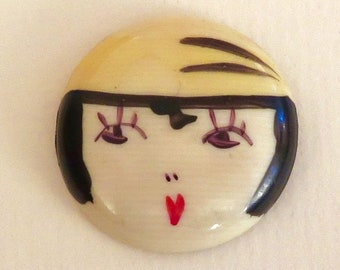Antique Hand Painted Adorable Flapper Girl - Celluloid Trim, Not a Button