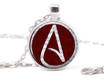 Atheist Logo, White and Wine Red, Pendant