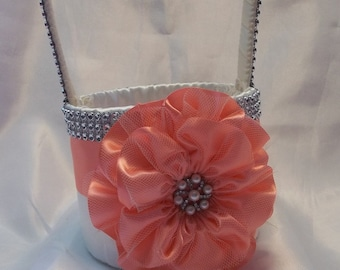 Flower Girl Basket in Ivory with Coral Flower and Rhinestone Mesh handle and Trim, Lots of Bling