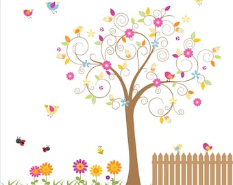 Children Wall Decals Vinyl wall decal Tree with Fence-Vinyl Tree Wall Decal-e18