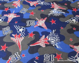 Flannel Fabric - Red Blue Airplane Camo - By the yard - 100% Cotton Flannel