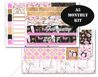 A5 Planner Stickers, Valentines Day Stickers MONTHLY Planner Kit, Sew Much Crafting Stickers, Monthly Sticker Kit, #SQ00223-A5