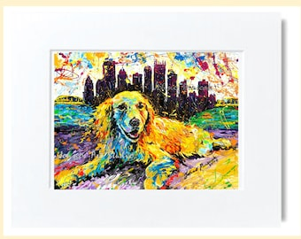 Golden Retriever Dog, Dog art, Pet painting, Pittsburgh skyline , Print by Johno Prascak, Johnos Art Studio