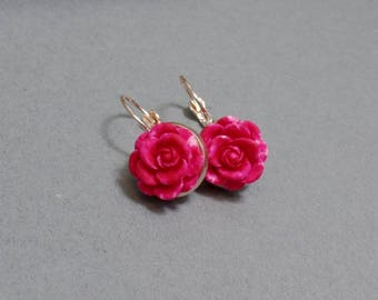 Hot Pink Rose Earrings - Rose Earrings - Flower Earrings - Spring Floral Earrings - Rose Gold Earrings - Leverback Earrings