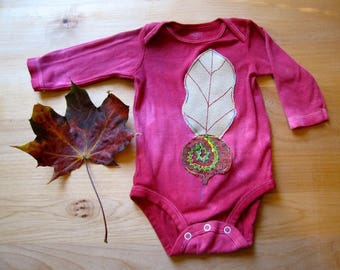 Long-Sleeved Veggie-Onesies, Beets, Hand-Dye in the colors: Bluebells & Wine, 6-9 Months