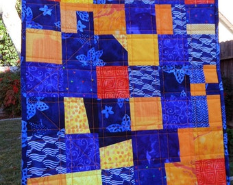 Orange & Cobalt Blue Mini Art Quilt, Wall Hanging, 15.5 x 18 inches