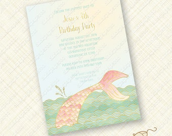 Blush Pink and Mint Green Mermaid Invitation Custom Printable Birthday Party invite Gold Foil Effect Card splash tail ocean digital pdf jpeg