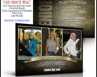 2018 Senior Invitation 5x7 Flat Card Photoshop Template OLD BRICK WALL. Graduation ceremony invite for party. Vintage look. Easy to use.