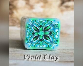 Polymer clay cane, green, blue