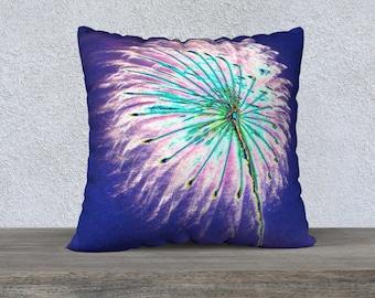 """050679 22""""x22"""" Velveteen Pillow Cover Fireworks"""