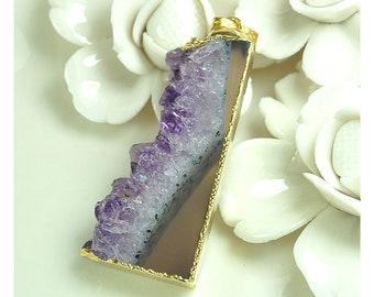 Druzy Slab Slice Pendant with Bail | Gemstone Pendant | Purple Drusy Pendant with Gold