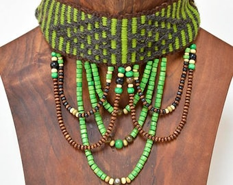Hand-woven in loom Vertical Mapuche ethnic necklace