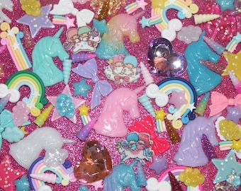 CandyCabsUK Rainbows & Unicorns Mixed Decoden Craft Kit Bows Stars Horns Hearts Clay Resin Flatback Kit