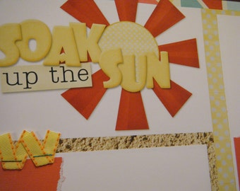 SOAK UP the SUN Premade 12x12 Scrapbook Pages for the Beach Boy Girl Summer