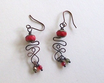 Red and Olive Czech Rondelle with Antiqued Copper Scrolled Wire Southwest or Boho Style Earrings by Carol Wilson of Je t'adorn