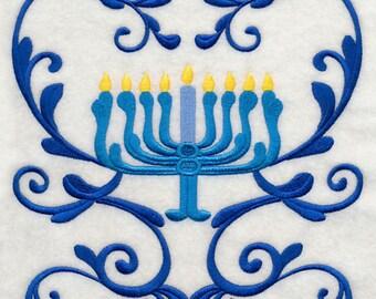 Embroidered Hanukkah Menorah Kitchen Tea Towel