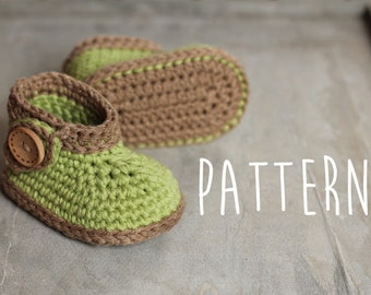 "Baby Crochet Pattern, Green ""Nature Boot"", green leaf, crochet boots, pattern for crochet booties PATTERN ONLY"