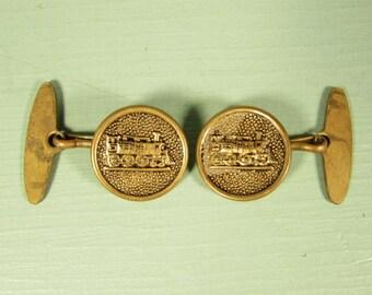 Train Locomotive Cuff Links - Vintage Antiqued Button Toggle