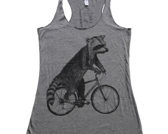 Raccoon on a Bicycle - Womens Tank top, Ladies Tank top, Tri Blend Tank, Handmade graphic tee, sizes s-xL