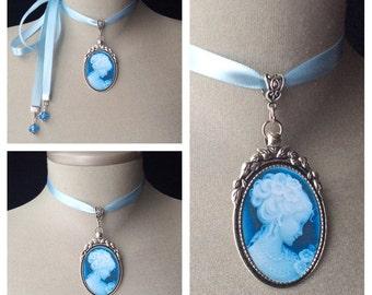 Silver cameo choker, antique silver choker, bridal cameo, victorian bridal jewelry, blue cameo necklace, blue ribbon choker, vintage cameo