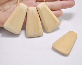 20Pcs Natural wooden bead,flat back wood pendant, Geometric wood beads, polyhedral beads, Unfinished - 52x30x16mm