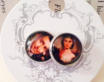 Scarlett OHara and Ret Butler Gone With The Wind Stud Earrings