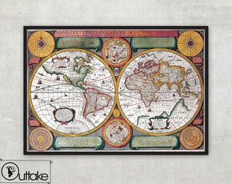Old world map - World map print - Retro map print (1594) - Antique World Map - Map of the World in Hemispheres Vintage wall map , 006