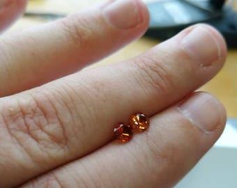 Brilliant orange spessartine garnet faceted stone 1pc 3.5mm
