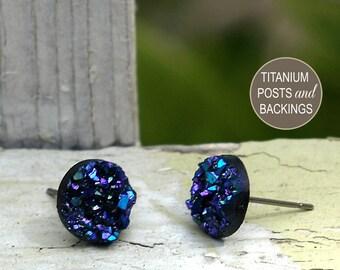 Faux Druzy Stud Earrings - Blue, Purple and Black Glitter Studs - 10mm Faux Durzy, Titanium Posts