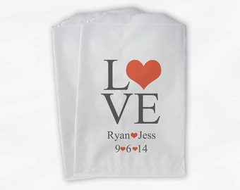 Personalized Candy Buffet Bags - Love and Hearts Custom Favor Bags for Wedding in Charcoal and Coral - Paper Treat Bags (0015)