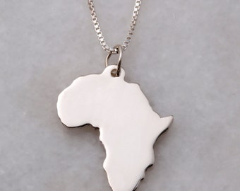 Large Silver Africa + Chain