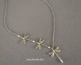 Silver dragonfly necklace with tiny freshwater pearls, Dragonfly trio necklace, Three silver dragonflies, Silver dragonfly necklace