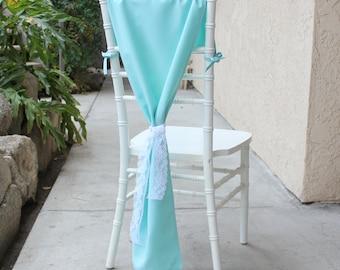 Aqua Spa Chair Hoods for Chiavari Chairs, Aqua Spa Chiavari Chair Drapes   Chair Covers for Weddings, Table Decor