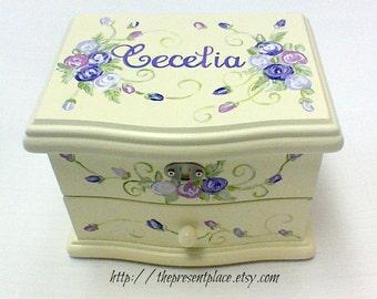 personalized musical jewelry box,purple,lavender,girls jewelry box,musical ballerina jewelry box,personalized gift,kids jewelry box,roses