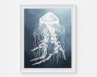 Jellyfish Art Print, Beach Decor, Ocean Art, Sea Life 5x7, 8x10, 11x14 Nautical Wall Decor, Beach Print, Jelly Fish Decor, Nautical Art