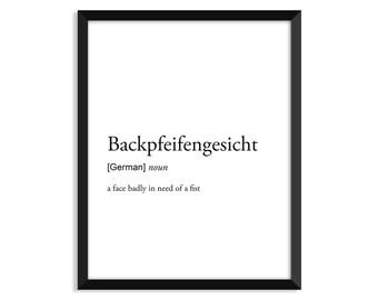 Backpfeifengesicht definition, art poster, dictionary art print, office decor, minimalist poster, funny definition print, definition poster