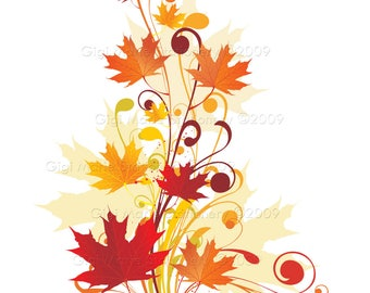 DIGITAL INSTANT DOWNLOAD - Fall Leaves - Autumn Leaves Design