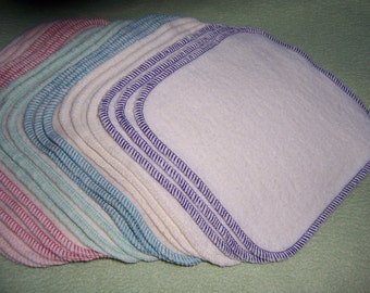 Organic Hemp Wash Cloth Cotton Fleece Washcloth Baby Face Family Wipes Bath Super Soft! Eco Friendly 6 x 6 size Cloths