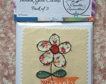 Pack of three  free motion machine embroidery Thank You Cards