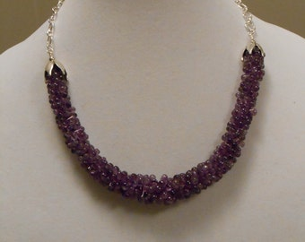 Free Shipping:Amethyst Teardrop Necklace with free matching  earrings- purple - gemstone-great gift item