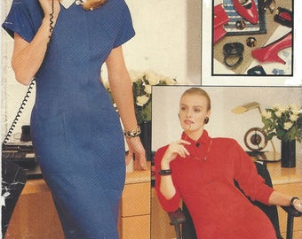 1980s Womens Office Dress Concealed Front Closing Straight Dress Vogue Sewing Pattern 7180 Size 12 14 16 Bust 34 36 38 UnCut Very Easy Vogue