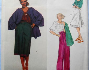 Vogue 1669. Anne Klein American Designer pattern. VTG Anne Klein fashion pattern. Jacket, wide leg pants, blouse, skirt pattern.  Size 8.