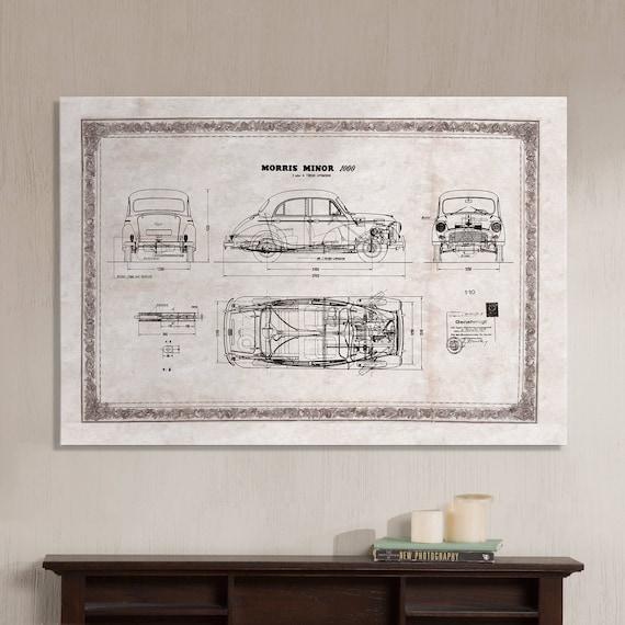 Morris minor 1000 old car technical drawing blueprint malvernweather Choice Image