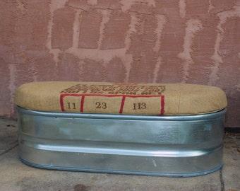 Upcycled Storage Bench: Galvanized Farm Stock Tank with Coffee Sack Lid